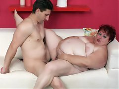 Horny mature BBW Margaret sizes up a cock with her lips and takes it in her fat pussy