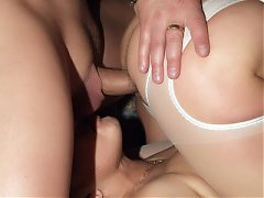 Horny older gal Francesca and Erlene working together and double teaming a young cock on webcam